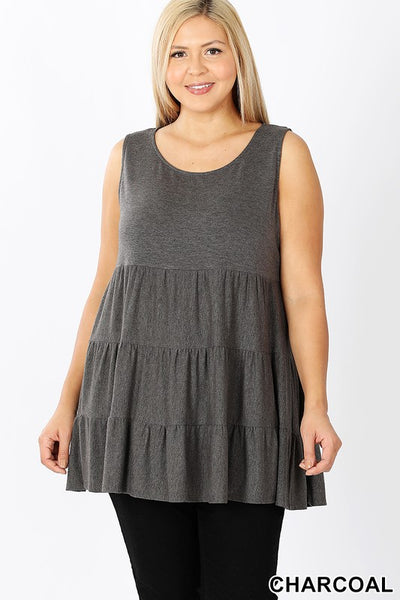Charcoal, Ruffled Top, Plus Size, Size Inclusive, Curvy, Women's Clothing, Fashion, Tiered Babydoll Top.jpg