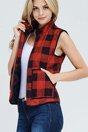 Chilly Breeze Vest, Red, Black, Plaid, Fashion, Boho Pretty