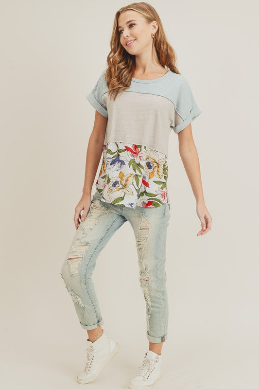 Color Block Top With Flower Print, Fashion, Boutique, Boho Pretty.jpg