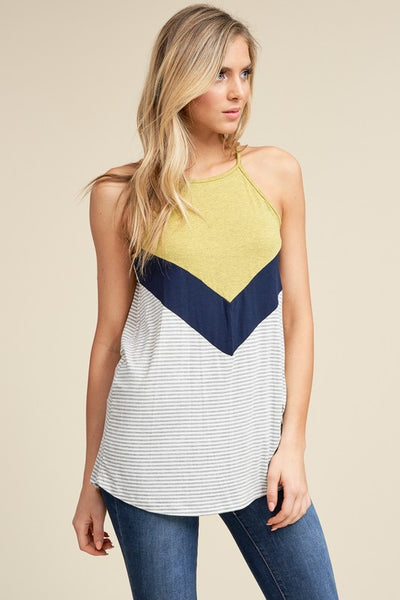 Nautical Inspired Halter Top with Contrast Color Blocking and Stripes available at Boho Pretty