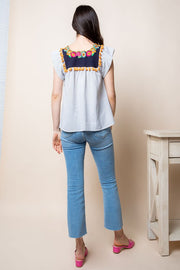 Perfect For Any Spring or Summer Day!  Contrast Yoke Top With Scallop Neck Embroidery And Tassel Detail.   Great Quality 100% Cotton thml boho pretty boutique