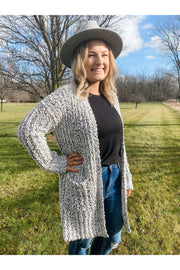 Cuddle Up Cardigan, black and white popcorn knit cardigan online womens clothing boutique boho pretty.jpg