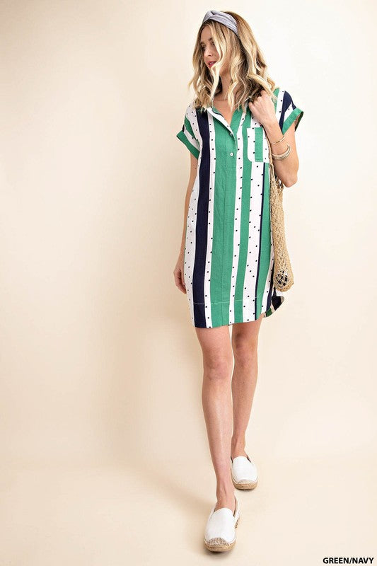 Such a Fun and Different Piece !  Green, White, Navy and Polka Dots!  Shirt Pocket Dress   80% Rayon 20% Linen