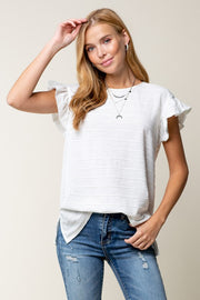Dolman Ruffle Sleeve Top, White, Boutique, Online Shopping, Womens clothing, fashion, boho pretty