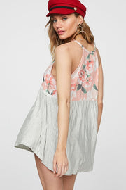 FLORAL PRINT HALTER NECK TOP WITH PIN STRIPE BOTTOM AND CROCHET LACE TRIMMED FRONT WAIST LINE