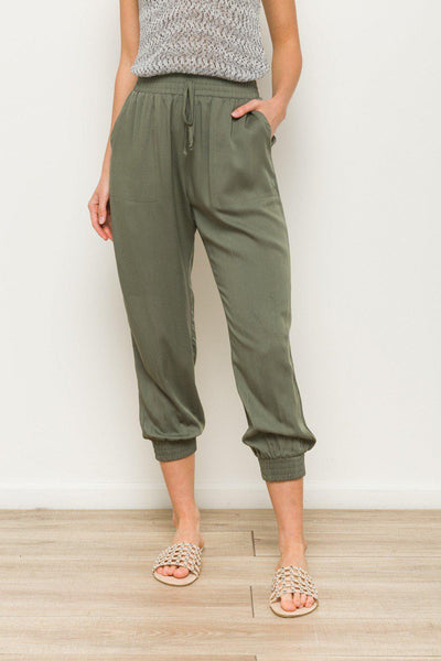Elastic Waist Pants With Pockets  Rayon knit joggers. Side pockets. Soft material. Elastic waist with drawstring.   boho pretty boutique