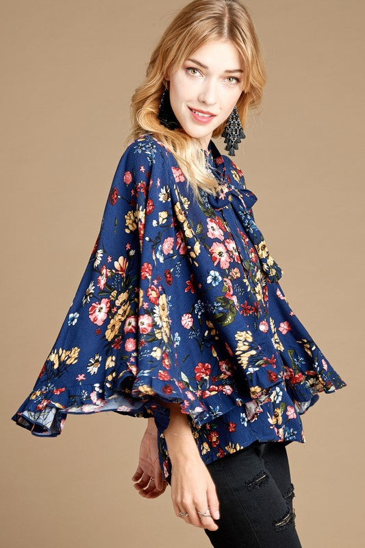 Fantastic Floral Top, Navy, Ruffled Sleeves, Fashion, Boho Pretty
