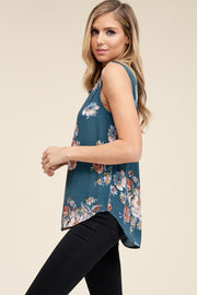 Feminine Floral Top available in Mustard or Teal, Boho Pretty