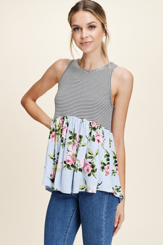 Floral and Stripes Mix Print Top, Boho Pretty, Summer Fashion