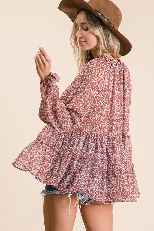 Floral Printed Woven Babydoll Top, Billow Long Sleeve, Elasticized Cuff, Frill And Shirring Neck Detail, Ruffle Tiered Bottom, Tunic Length.