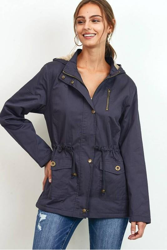 French Grey Anorak Jacket With Fur Lining Boho Pretty Boutique Online Womens Fall Clothing2