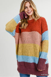 Fuzzy Color Block Sweater