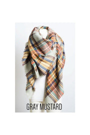 classic plaid blanket scarf gray mustardboho pretty boutique women winter scarf accessories