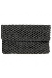 Solid Textured Flap Over Straw Clutch With Chain Strap