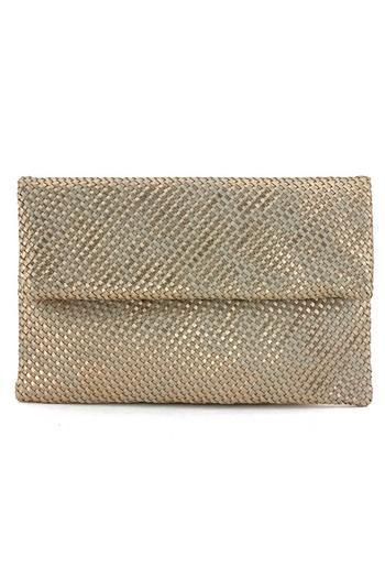 Metallic Flap Over Weaved Clutch With Strap