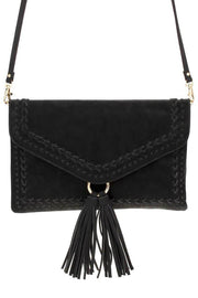 Solid Whip Stitched With Tassel With Flap Over Clutch
