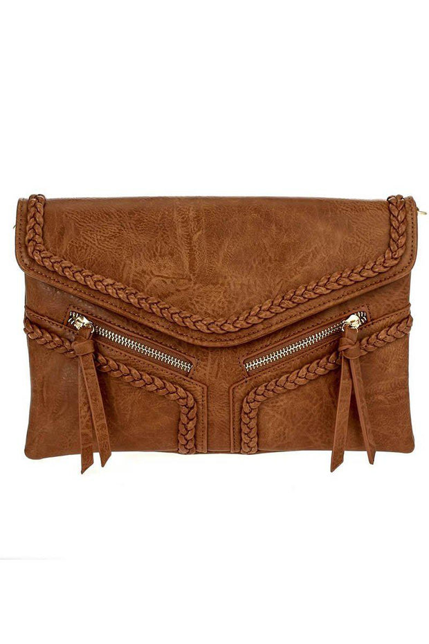 Solid Double Front Zipper Pull And Stitched Flap Over Clutch