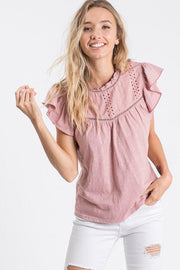 Ruffle Sleeve Embroidered Top