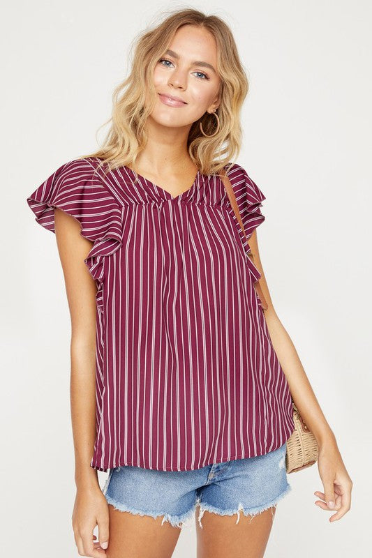 Ruffle Sleeve V-Neck Top