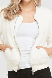 Happy Holidays Jacket, Fur, Zip up, Fashion, Trendy, Boho Pretty