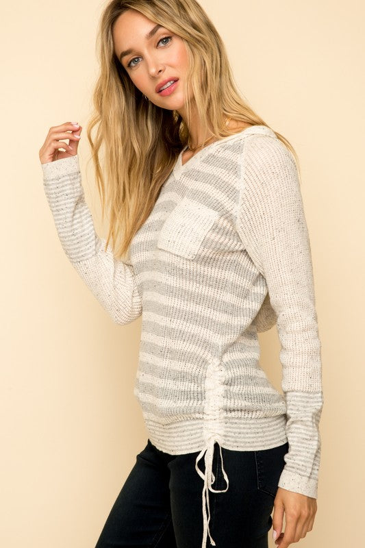 Perfect for layering or a Fall Day, We love this casual comfy chic hooded lightweight sweater!  Long Sleeve V-Neck With Ruched At Side Grey Striped Hoodie Sweater.   98% Cotton 2% Polyester