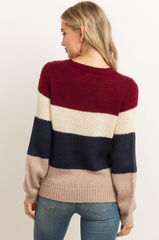 Neutral Color Block Slight Bubble Sleeve Sweater.   100% Acrylic.