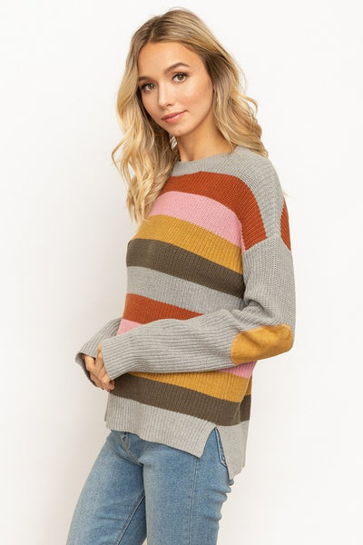 Totally 70s Color Vibes !  Color Striped Suede Elbow Patch Detail Sweater.   60% ACRYLIC 40% COTTON.