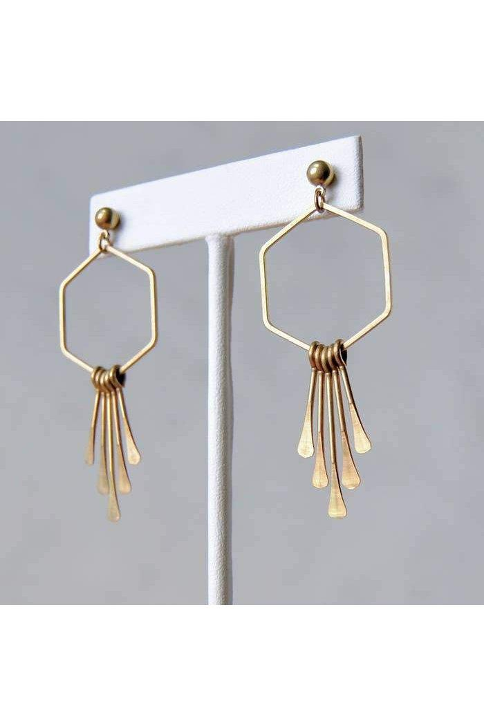 Length: 2.5 Inches; Drop length: 2.5 Inches; Width: 1 Inches  Hang from nickel free stud post. Beautiful Brass Earrings.