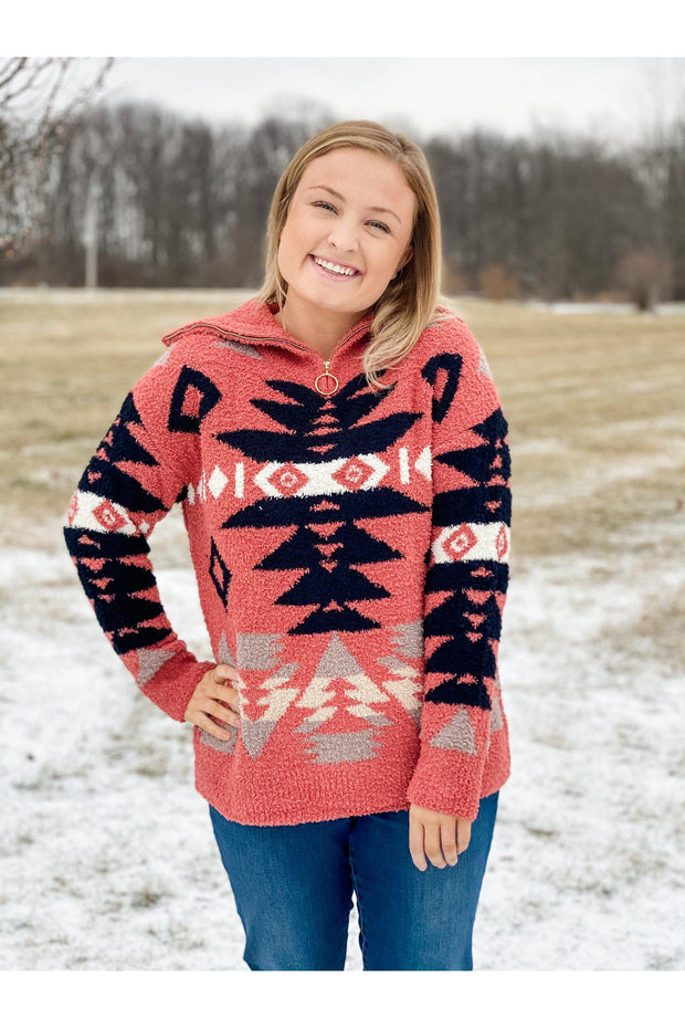 red berry aztec pattern knitted sweater pullover with zipper boho pretty boutique online womens clothing