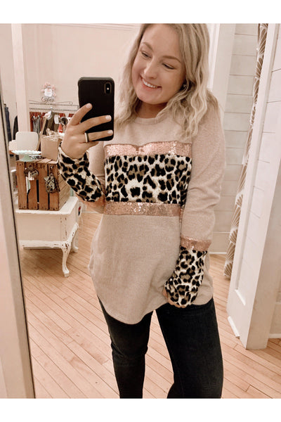Sparkle And Leopard Top