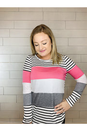 Multi Color Stripe Mix and Match 3 Block Knit Top