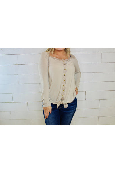 Bottom Tied Knit Button Down Top With Lace Trim