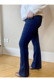 "Dark Denim Flared Jegging 30"" Inseam.   Petite Length With Elastic No Button Band.   EXTREMELY COMFORTABLE. boho pretty boutique cello jeans"