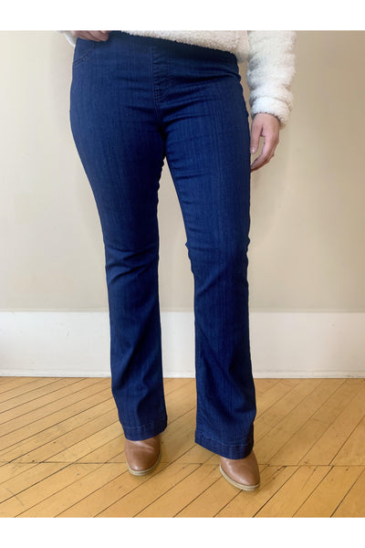 "Dark Denim Flared Jegging 30"" Inseam.   Petite Length With Elastic No Button Band.   EXTREMELY COMFORTABLE. boho pretty boutique"