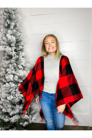 buffalo check ruana wrap christmas outfit boho pretty boutique