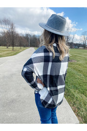 buffalo check plaid vneck flowy top boho pretty boutique online womens clothing