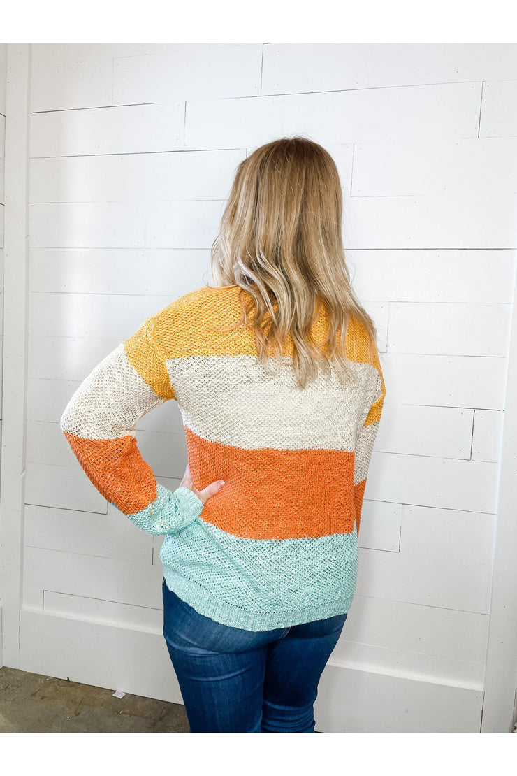 orange and blue stripe knit sweater top boho pretty online womens boutique