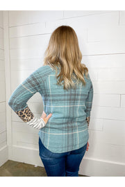 leopard vintage teal plaid top stripe mixed print long sleeve boho pretty online womens boutqiue