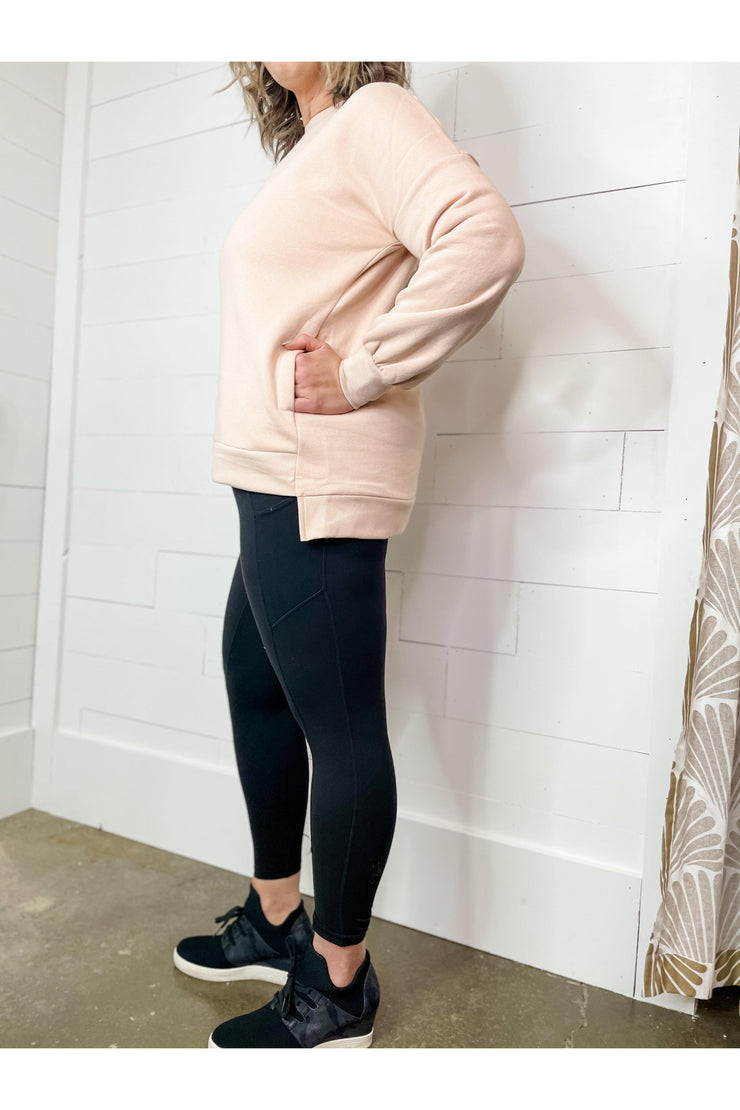 on the go blush sweatshirt with pockets boho pretty boutique online womens clothing