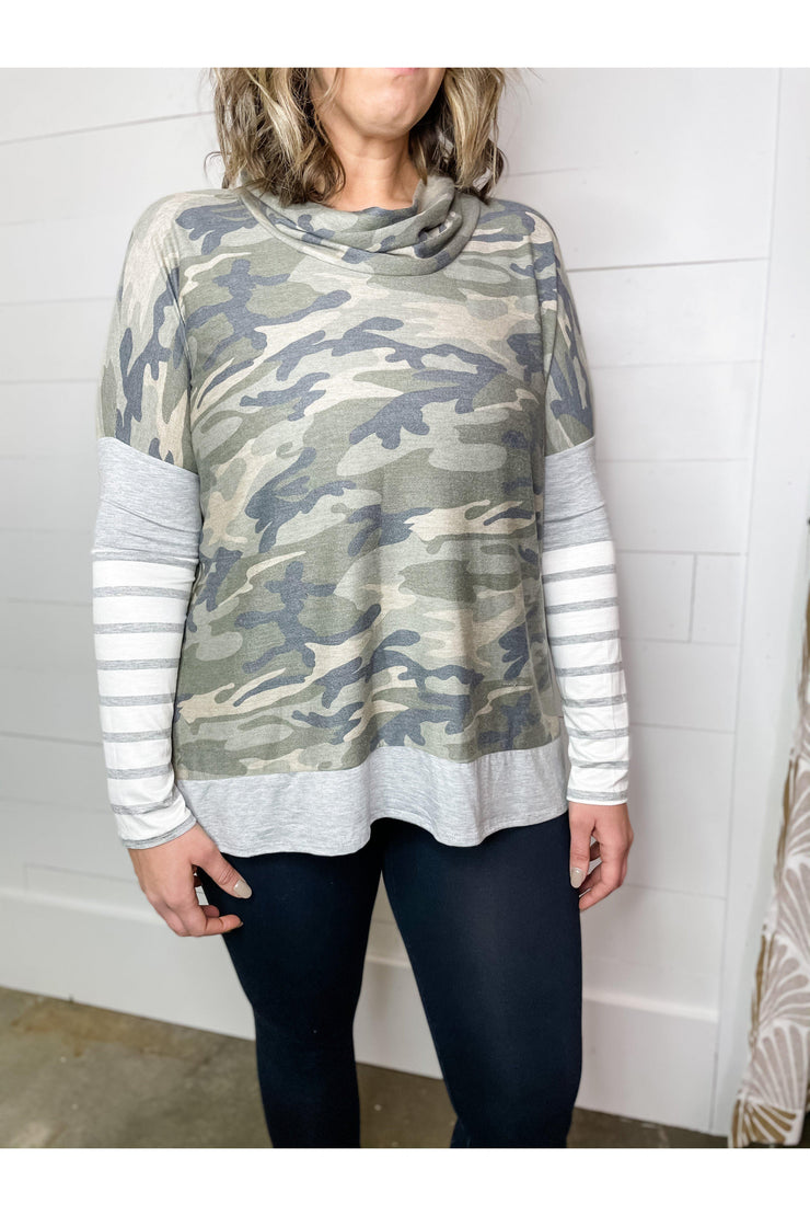 Army Stripe Cowl Neck Top