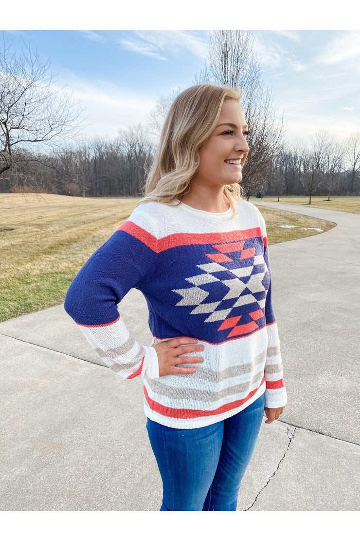 boho aztec coral blue lightweight sweater boho pretty online mobile boutique