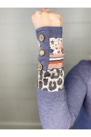 Leopard Floral Cuff Long Sleeve Thermal Top
