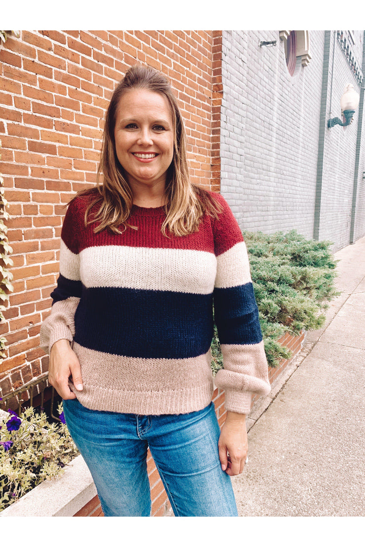 Gather Color Block Sweater