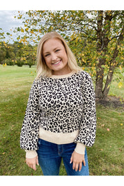 Leopard Print Balloon Sleeve Sweater