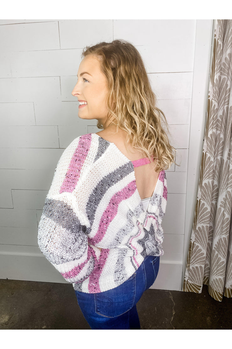 heathered gray pink white sweater with open twist back boho pretty boutique online womens clothing