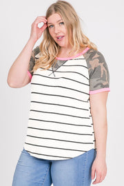 Ivory, Black Stripe, Coral, Camo, Plus Size, Knit Top, Boho Pretty.jpg