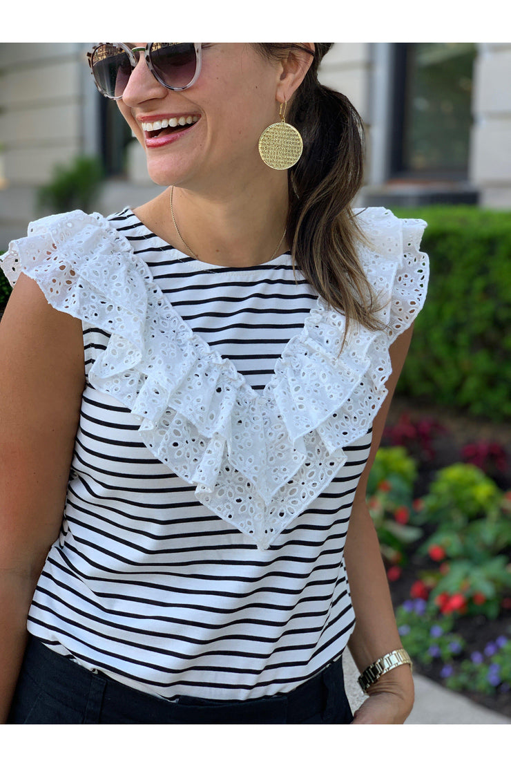Frills Top, Boho Pretty, Stripes, Nautical, Ruffle, Eyelet, Lace, Feminine, Boutique, Candace Post, Just Posted, Blog