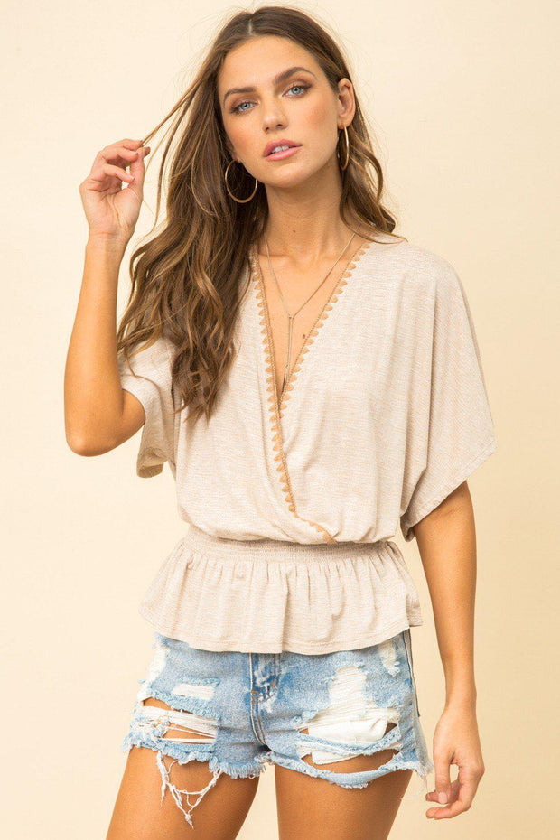 KIMONO THREAD DETAIL KNIT TOP  -48% COTTON 47% RAYON 5% SPANDEX hem and thread boho pretty boutique