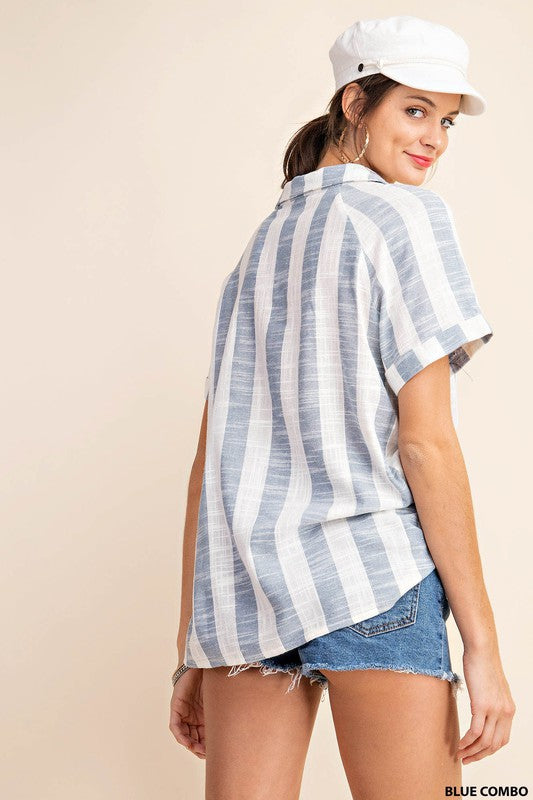 Comfy Lightweight Stripe Button Up   Great With Denim or Any Shorts!  A Must Have For Any Spring/Summer Vacay!  Raglan Sleeve Shirt Top With Pocket And Wood Buttons