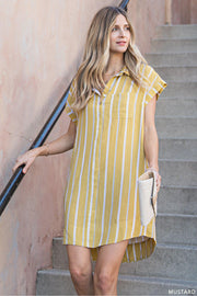 Dress This Up or Down!  Pair With a Cute Hat, Sneakers or Heels!   Stripe Shirt Collar Tunic Dress With Bust Pocket  100% Rayon